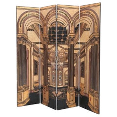Trompe l'oeil Gilded and Carved Lacquer Four-Panel Dressing Screen