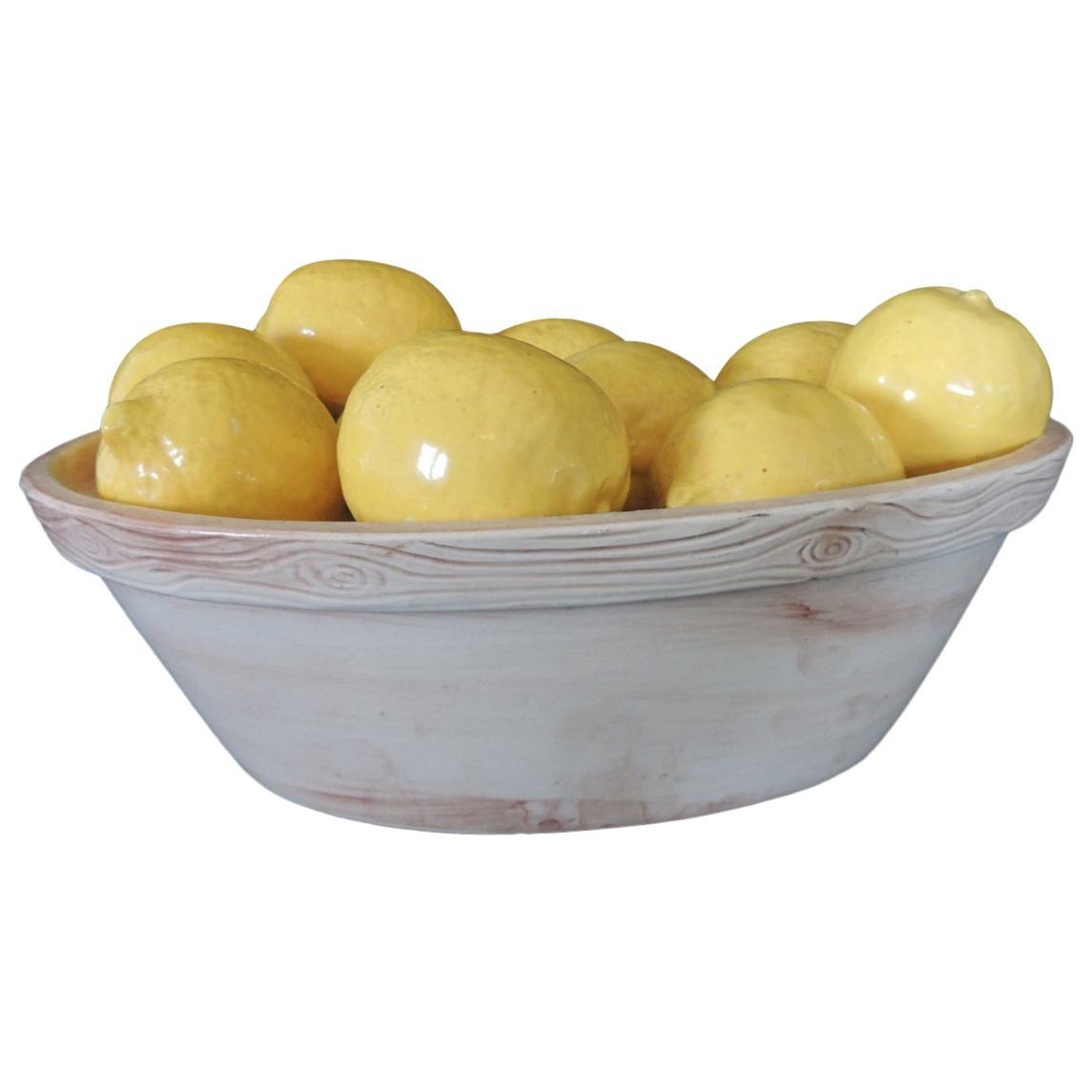 Trompe-L'oeil Lemons inside Faux Wooden Porcelain Basket
