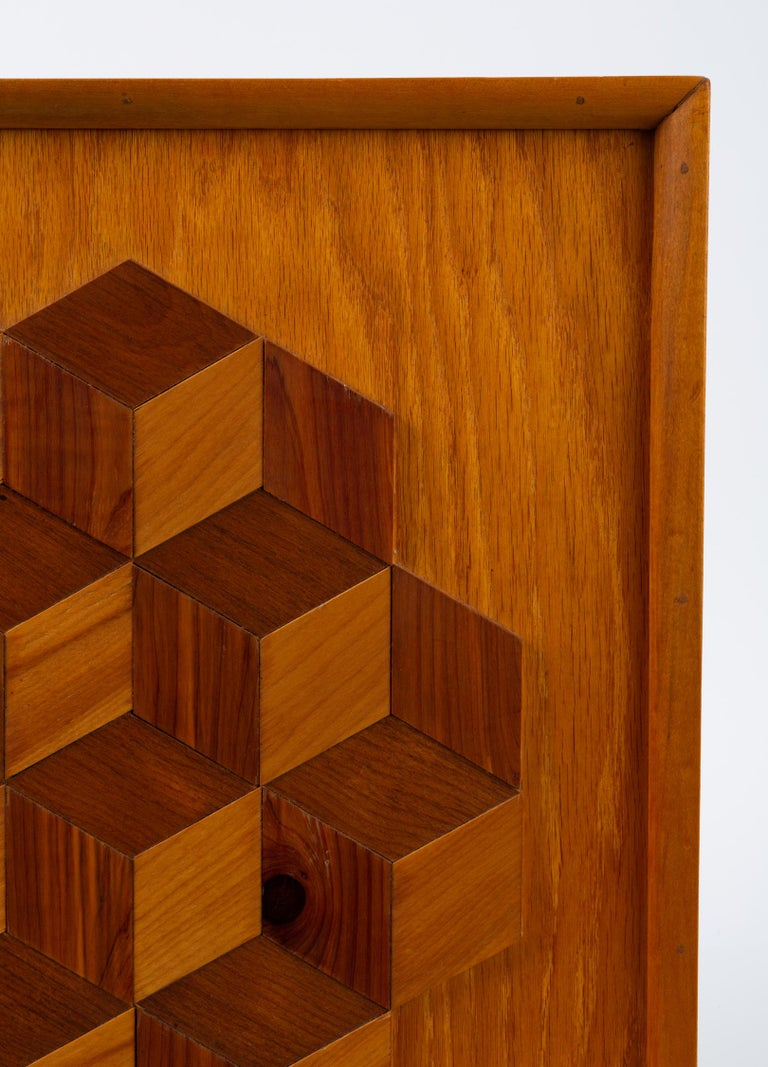 Mid-Century Modern Trompe L'Oeil Louis Cube Framed Marquetry Wall Art For Sale