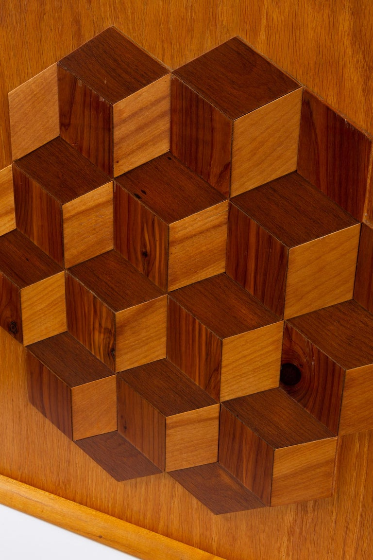 Trompe L'Oeil Louis Cube Framed Marquetry Wall Art In Excellent Condition For Sale In Los Angeles, CA