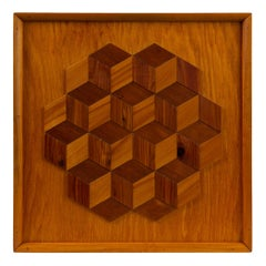 Trompe L'Oeil Louis Cube Framed Marquetry Wall Art