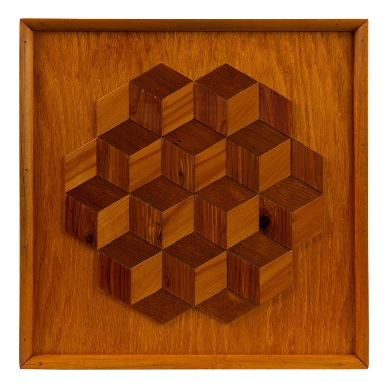 Trompe L'Oeil Louis Cube Framed Marquetry Wall Art For Sale