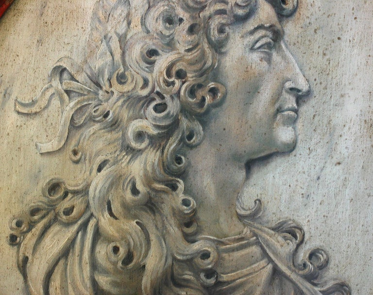 Trompe-L'oeil Medallion Profile of Louis XIV Represented as Alexander the Great For Sale 1
