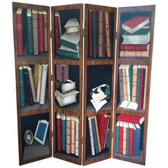 Trompe l'Oeil Screen of Four Panels with Painted Books