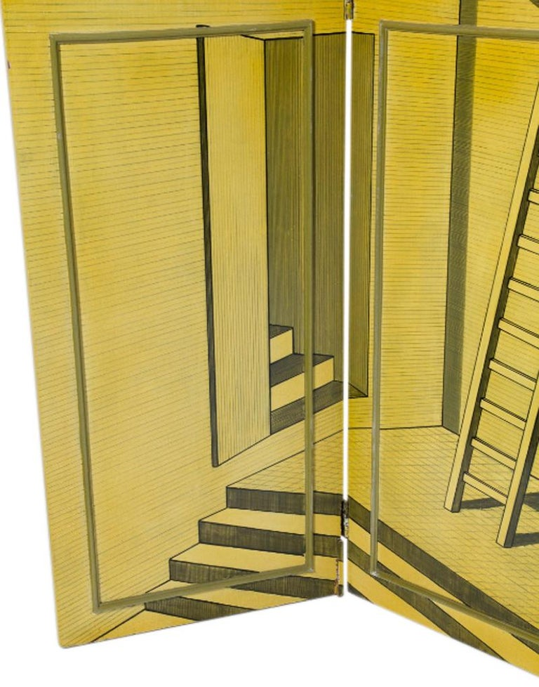 A fantastic, one-sided, hand painted screen after Piero Fornasetti. A wonderfully surreal, architectural, Escher-esque stair and ladder motif; an of-the-period replica of a portion of the largest Fornasetti screen ever made,