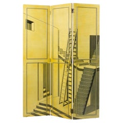 Trompe L'oeil Screen or Room Divider in the Manner of Piero Fornasetti