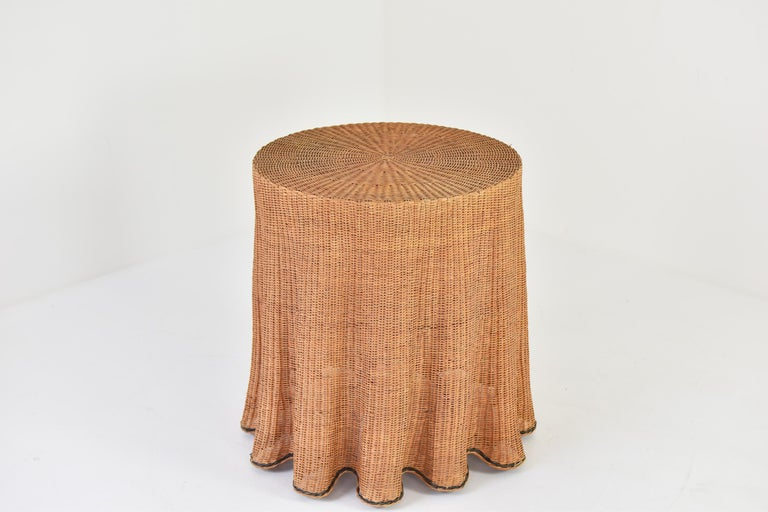 French Trompe L'oeil Wicker Side Table with 'Draped' Illusion from France, 1970's For Sale