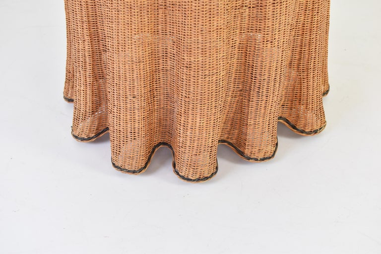 Trompe L'oeil Wicker Side Table with 'Draped' Illusion from France, 1970's In Good Condition For Sale In Antwerp, BE