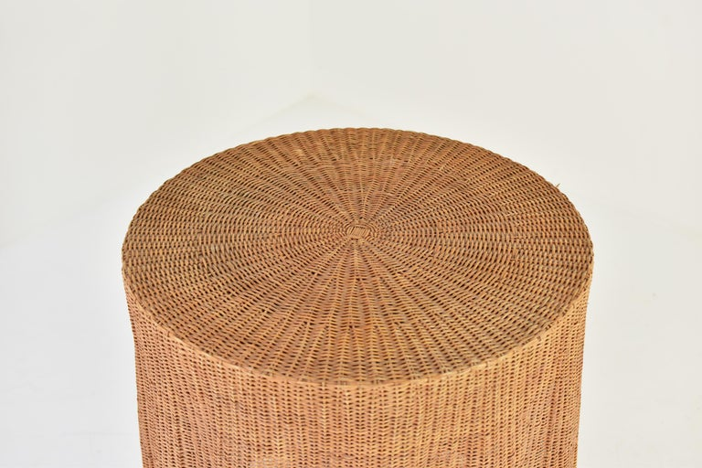 Late 20th Century Trompe L'oeil Wicker Side Table with 'Draped' Illusion from France, 1970's For Sale