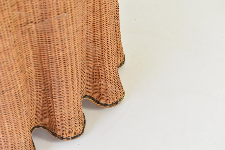 Trompe L'oeil Wicker Side Table with 'Draped' Illusion from France, 1970's For Sale 1