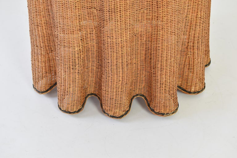 Trompe L'oeil Wicker Side Table with 'Draped' Illusion from France, 1970's For Sale 2