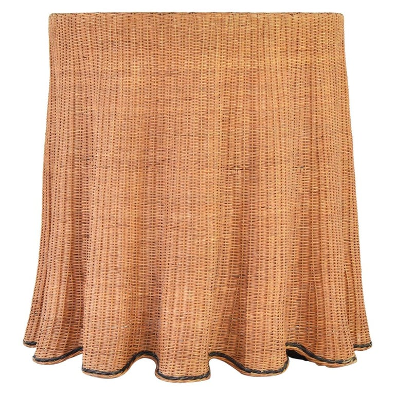 Trompe L'oeil Wicker Side Table with 'Draped' Illusion from France, 1970's For Sale