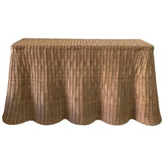 Trompe L'Oiel Draped Wicker Console Table, Extra Large