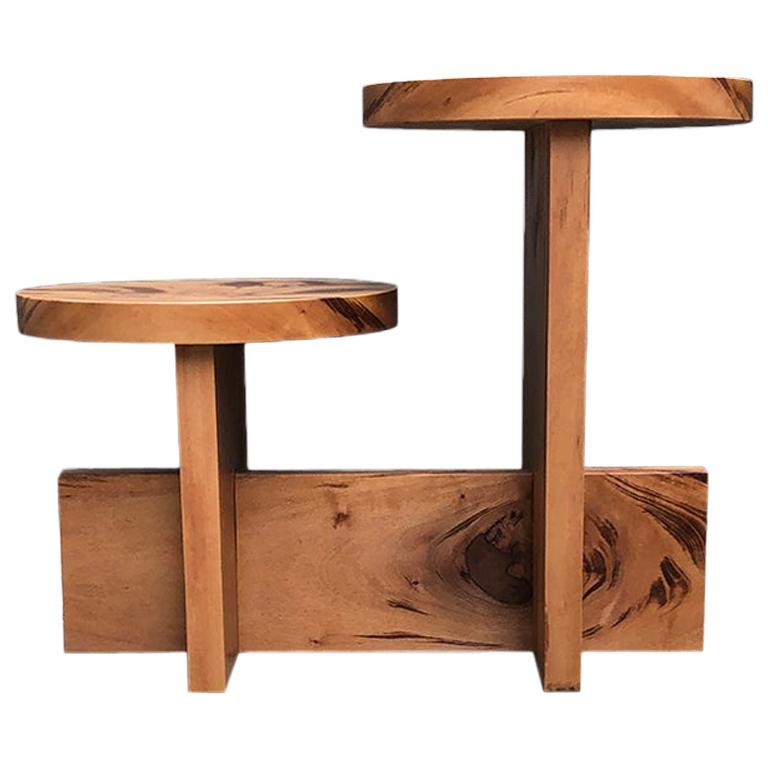 """""""Trompete"""" Brazilian Contemporary Side Table or Coffee Table in Solid Wood"""