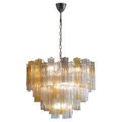 Tronchi Murano Glass Chandelier 'Amber, Clear, Brown', Italy