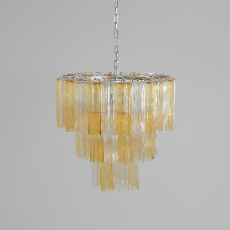 Mid-Century Modern Tronchi Murano Glass Chandelier 'amber/ clear', Italy For Sale