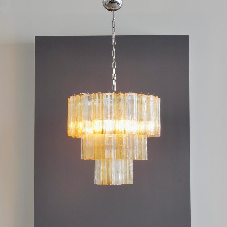 Italian Tronchi Murano Glass Chandelier 'amber/ clear', Italy For Sale