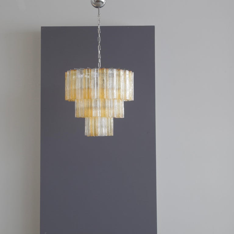 Tronchi Murano Glass Chandelier 'amber/ clear', Italy In Good Condition For Sale In Berlin, Berlin