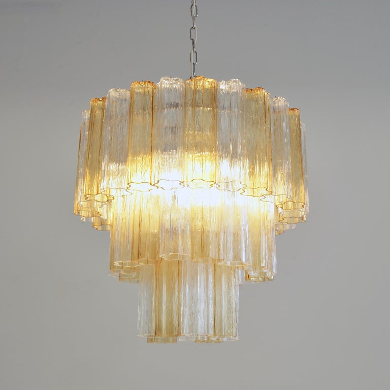 Contemporary Tronchi Murano Glass Chandelier 'amber/ clear', Italy For Sale