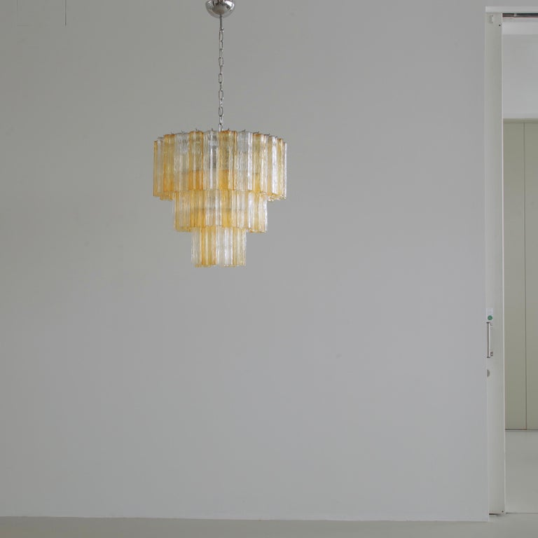 Metal Tronchi Murano Glass Chandelier 'amber/ clear', Italy For Sale
