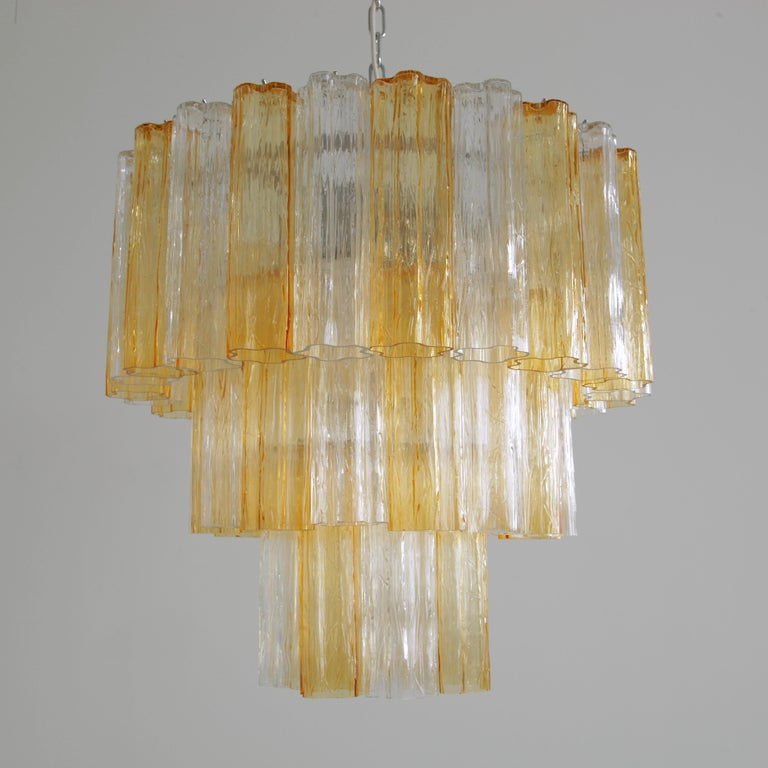 Tronchi Murano Glass Chandelier 'amber/ clear', Italy For Sale 1
