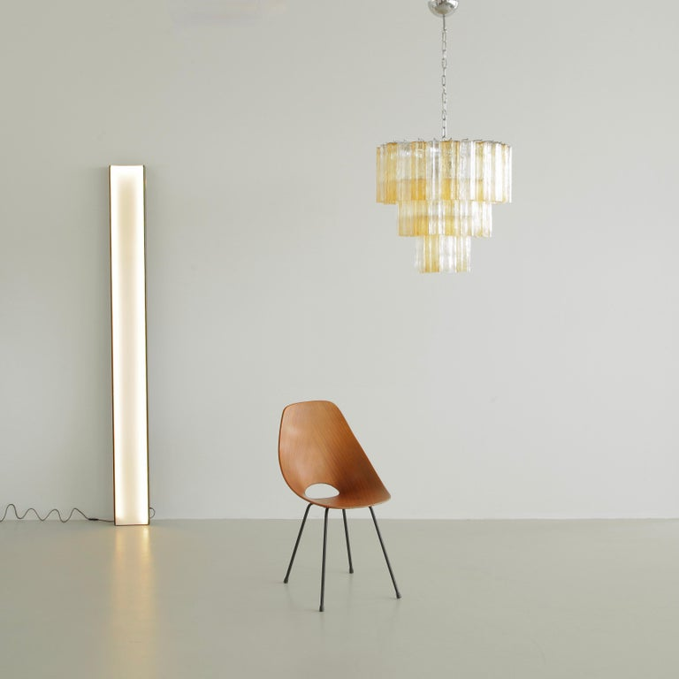 Tronchi Murano Glass Chandelier 'amber/ clear', Italy For Sale 2