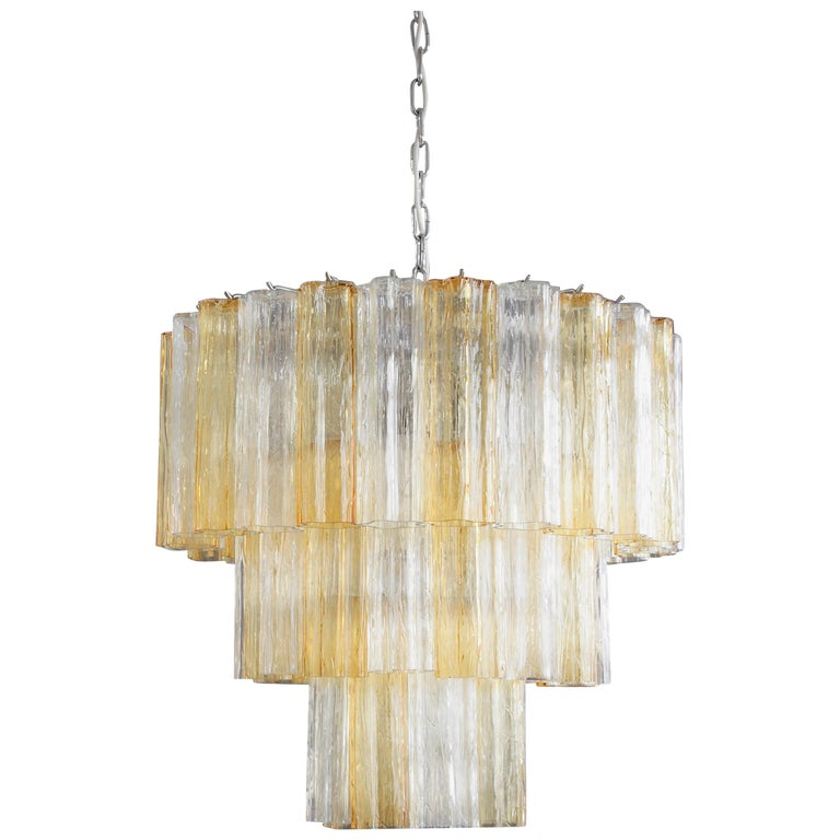 Tronchi Murano Glass Chandelier 'amber/ clear', Italy For Sale
