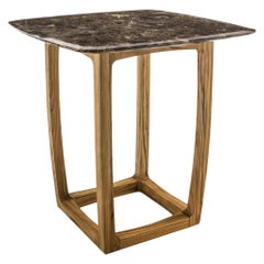 Trooper Center Table in Solid Teak with Marble Top Outdoor or Indoor