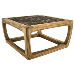 Trooper Coffee Table in Solid Teak With Marble Top Outddor or Indoor
