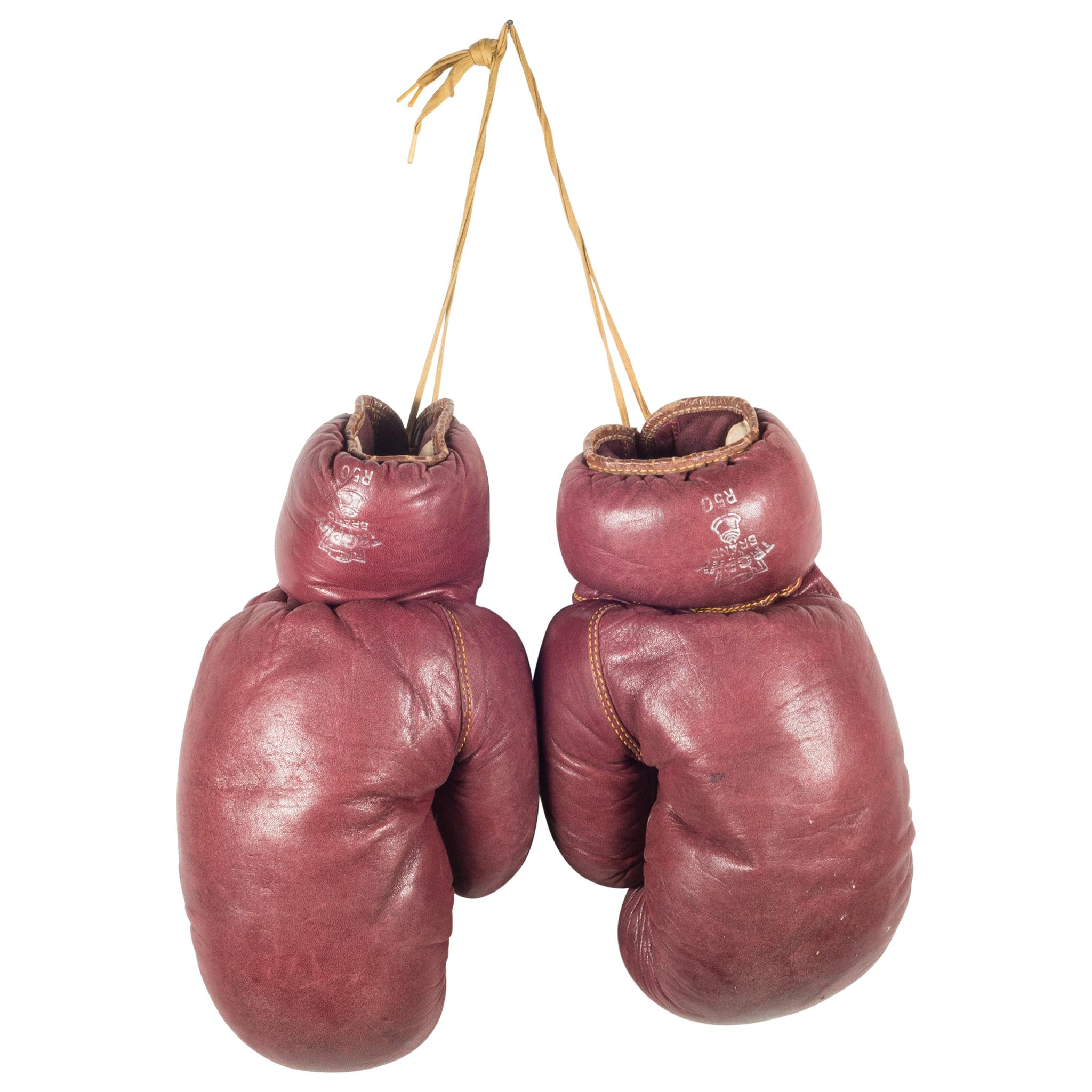 Trophy Brand Horse Hair and Leather Boxing Gloves, circa 1950