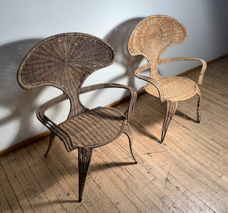 20th Century Tropi-Cal Danny Ho Fong and Miller Fong Garden Patio Pair of Chairs For Sale