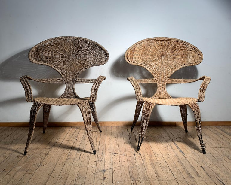 Wicker Tropi-Cal Danny Ho Fong and Miller Fong Garden Patio Pair of Chairs For Sale