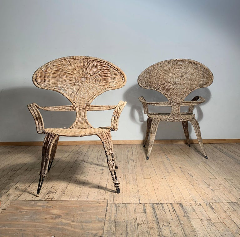 Tropi-Cal Danny Ho Fong and Miller Fong Garden Patio Pair of Chairs For Sale 1