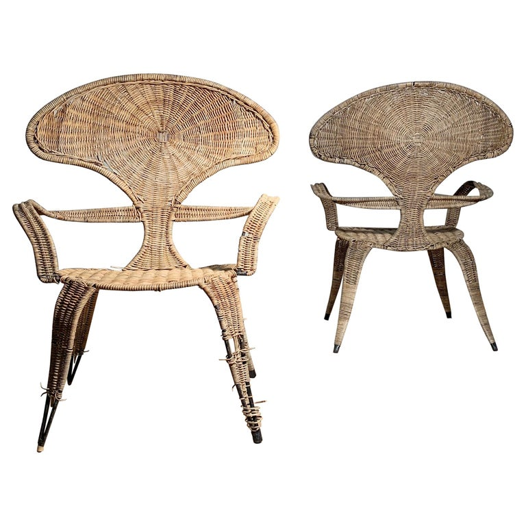 Tropi-Cal Danny Ho Fong and Miller Fong Garden Patio Pair of Chairs For Sale
