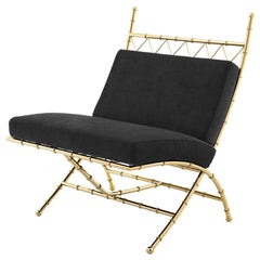 Tropic Folding Chair with Black Velvet Fabric in Brass or Nickel Finish