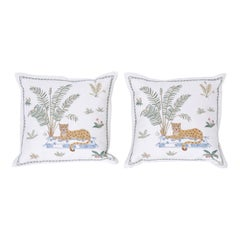 Tropical Crewelwork Cheetah Pillows, Priced Individually