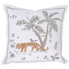 Tropical Crewelwork Tiger Pillow
