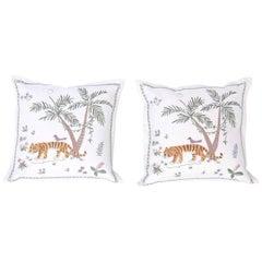 Tropical Crewelwork Tiger Pillows
