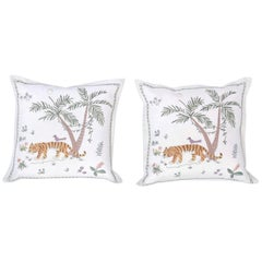 Tropical Crewelwork Tiger Pillows, Priced Individually