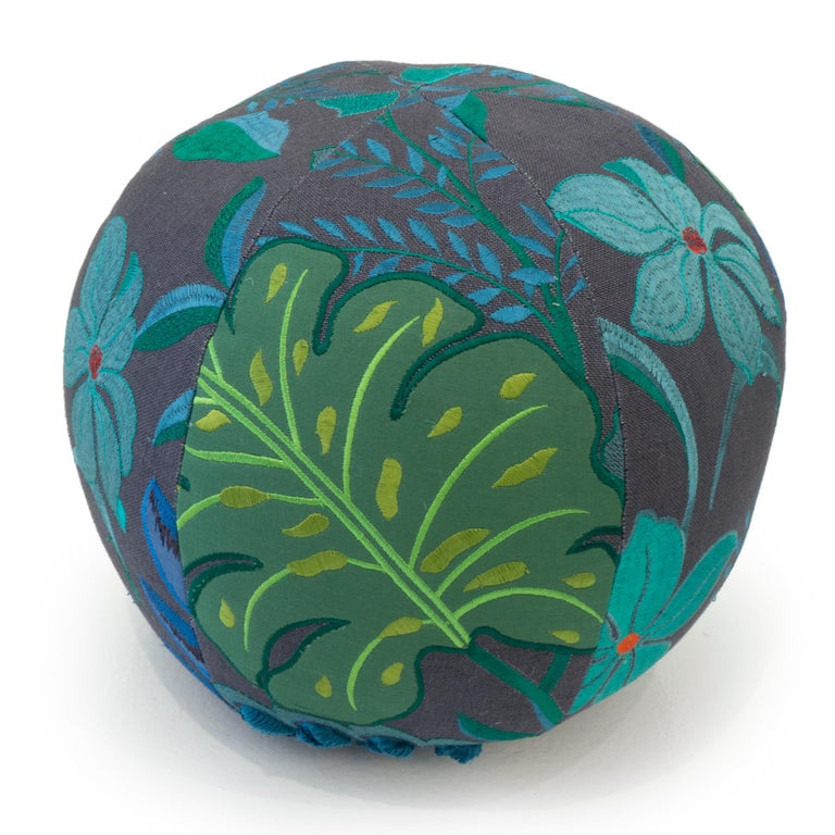 Modern Tropical Embroidery Ball Pillow For Sale