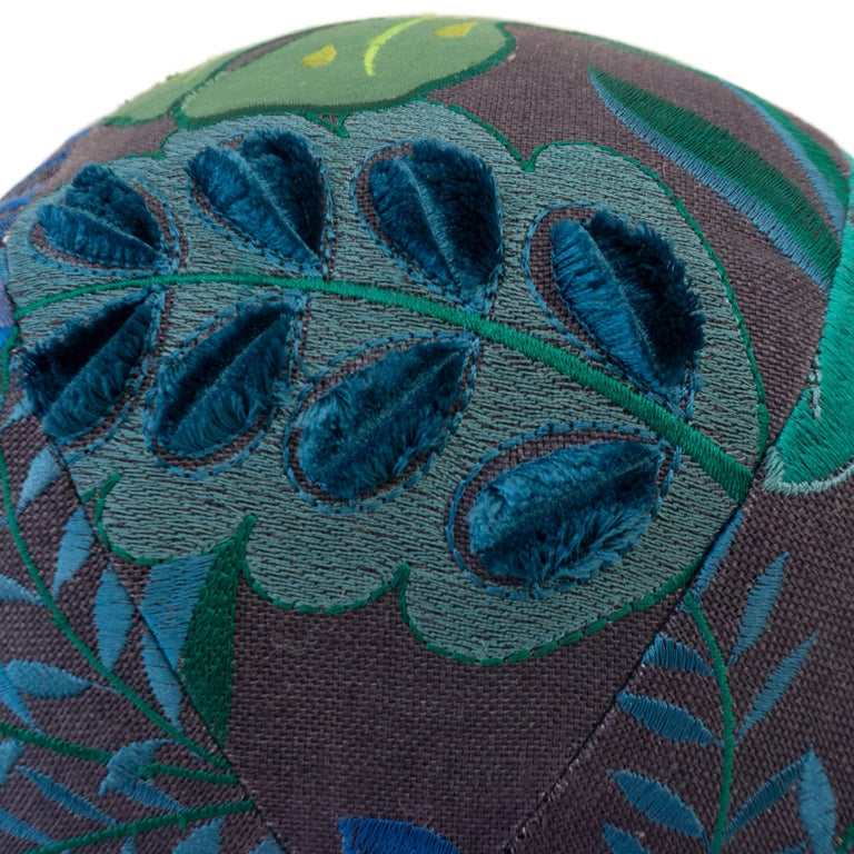 Tropical Embroidery Ball Pillow In Excellent Condition For Sale In Greenwich, CT