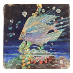 """Tropical Fish and Giant Clam,"" Brilliant Art Deco Painting of Undersea Life"
