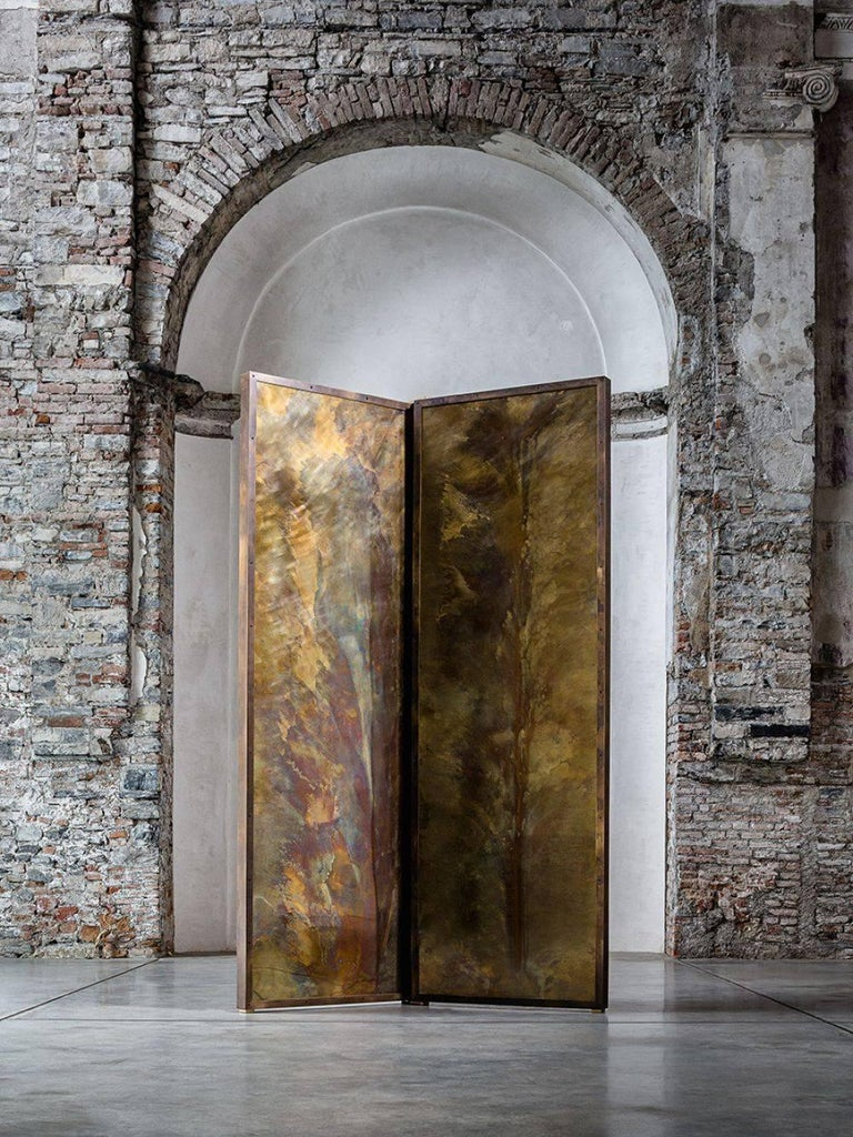 Brutalist 'Tropical Fossil I' Monumental Bronze and Brass Screen by Gianluca Pacchioni For Sale