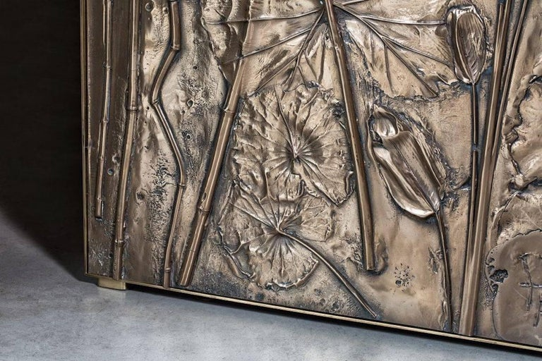 Italian 'Tropical Fossil I' Monumental Bronze and Brass Screen by Gianluca Pacchioni For Sale