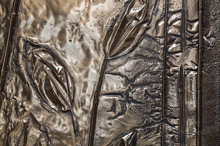 Cast 'Tropical Fossil I' Monumental Bronze and Brass Screen by Gianluca Pacchioni For Sale