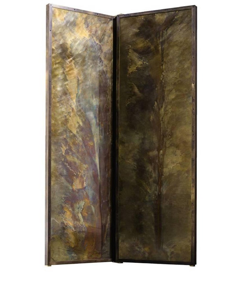 Contemporary 'Tropical Fossil I' Monumental Bronze and Brass Screen by Gianluca Pacchioni For Sale