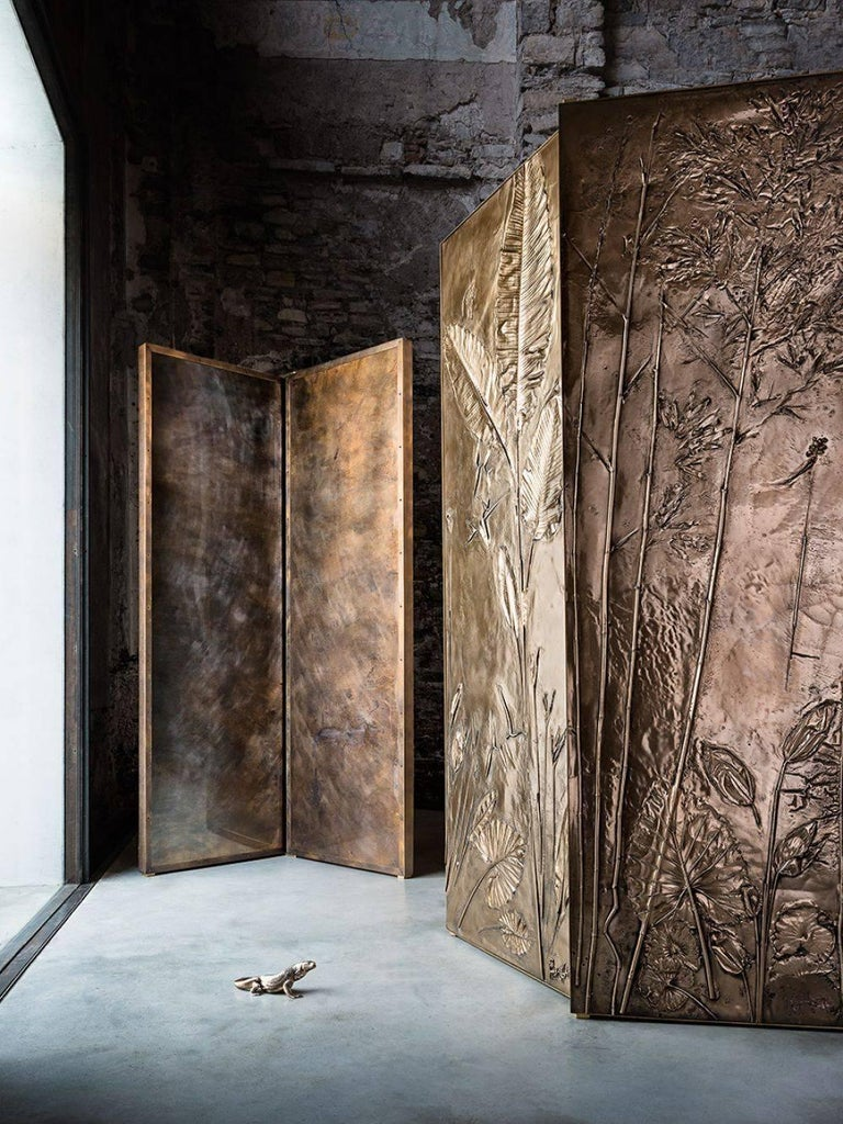Wood 'Tropical Fossil I' Monumental Bronze and Brass Screen by Gianluca Pacchioni For Sale