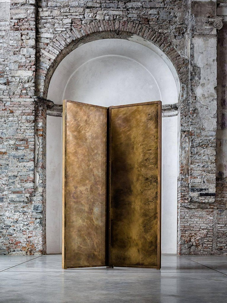 Hollywood Regency 'Tropical Fossil III' Monumental Bronze and Brass Screen by Gianluca Pacchioni For Sale
