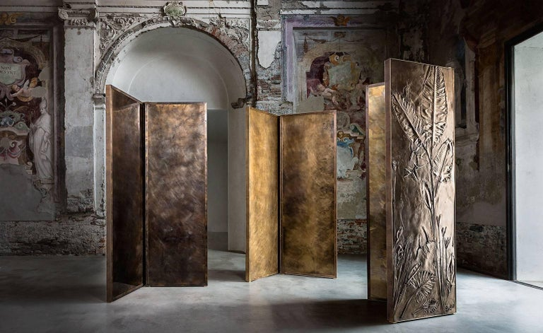 Italian 'Tropical Fossil III' Monumental Bronze and Brass Screen by Gianluca Pacchioni For Sale