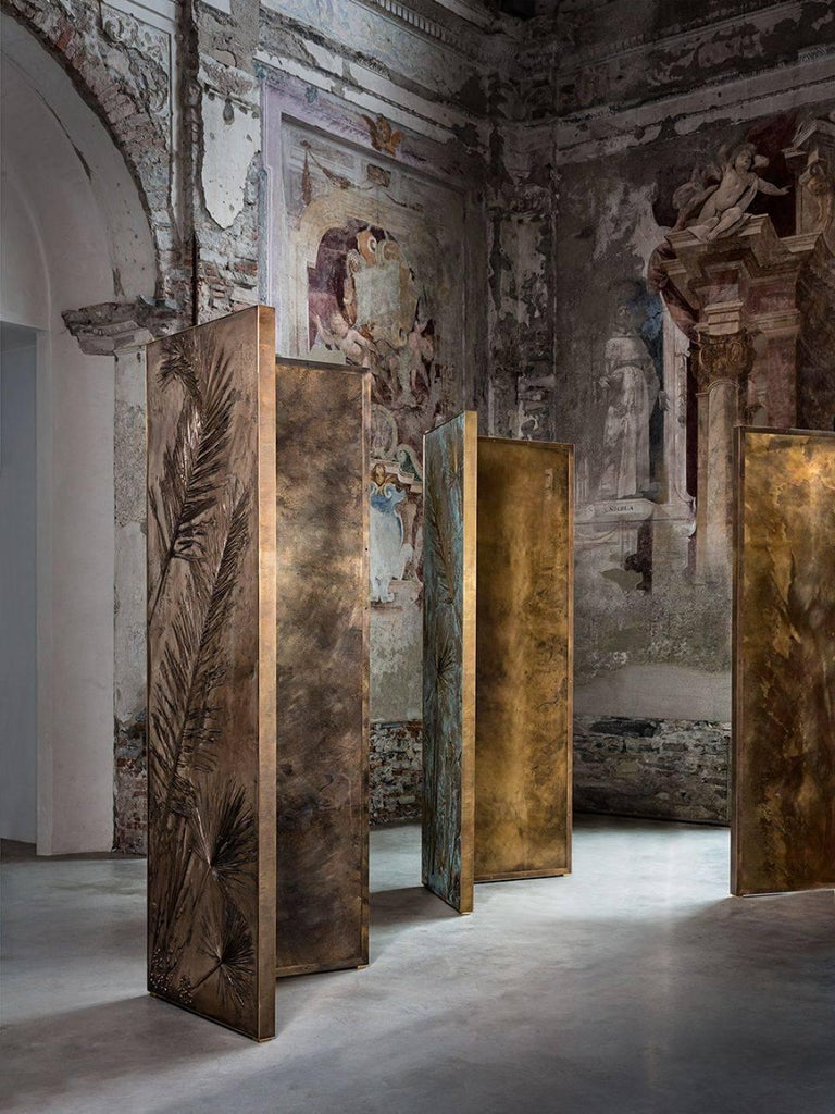'Tropical Fossil III' Monumental Bronze and Brass Screen by Gianluca Pacchioni In New Condition For Sale In New York, NY